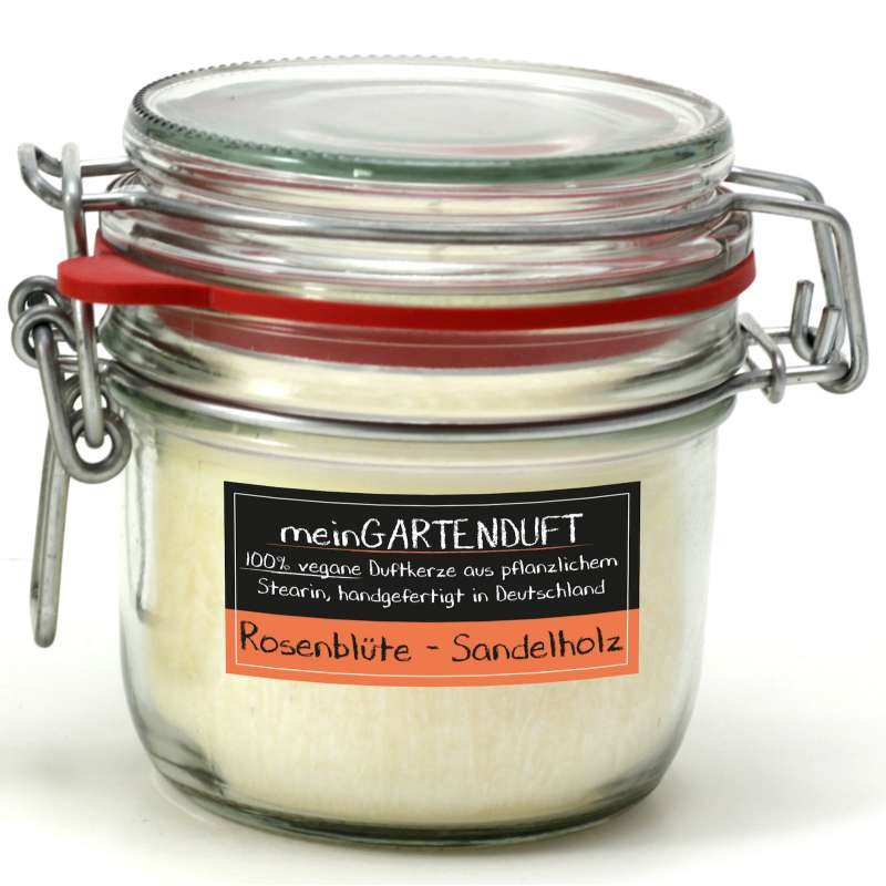 Candle Factory meinGartenduft Rosenblüte-Sandelholz Drahtbügelglas klein 507-006