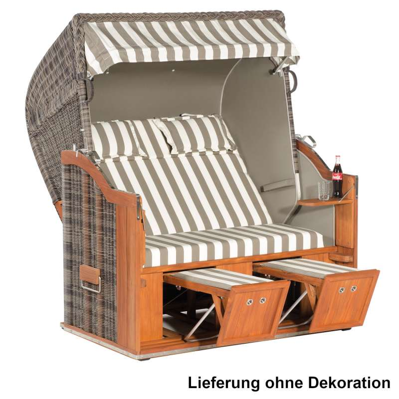 Sonnenpartner Strandkorb Classic Teak 2-Sitzer XL Halbliegemodell cappuccino/banda canela/taupe mit
