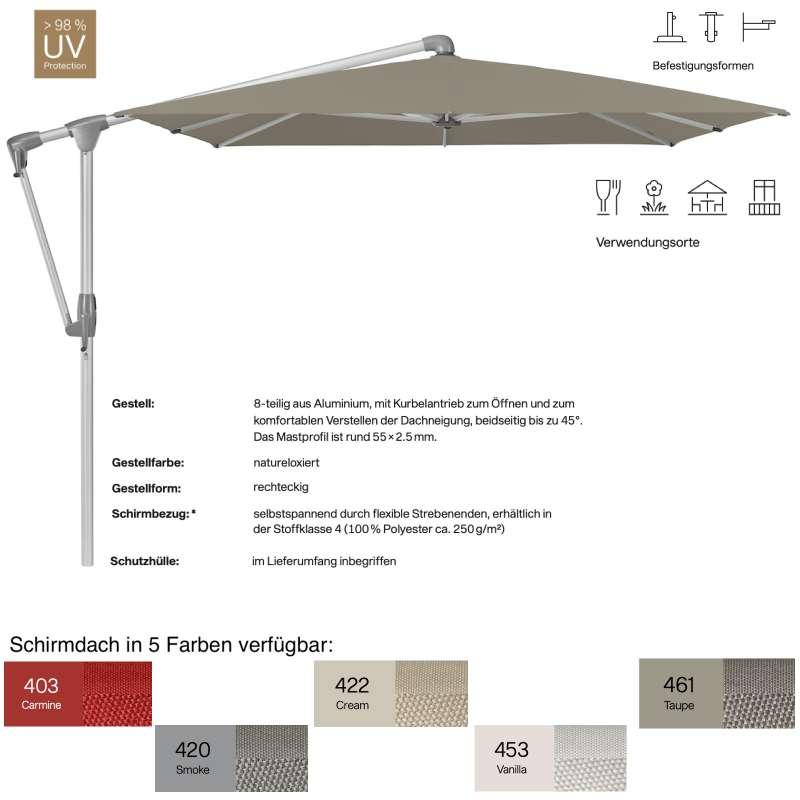 GLATZ Sonnenschirm SUNWING® CASA rechteckig 300 x 240 cm 5 Farben Ampelschirm Stoffklasse 4