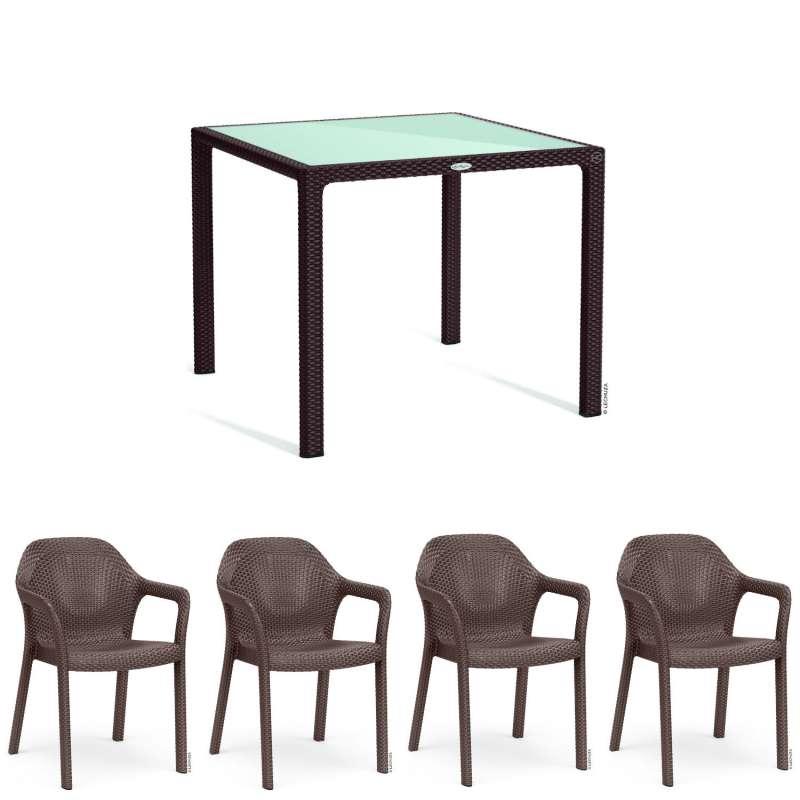 Lechuza 5-teilige Sitzgruppe Flechtstruktur mokka Gartentisch Glasplatte 90x90 cm 4 Stapelstühle