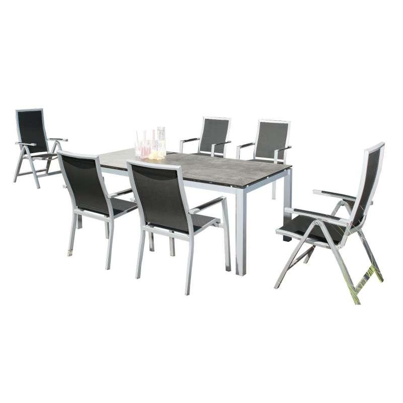 Sonnenpartner 7-teilige Sitzgruppe Star & Base 160x90 cm Aluminium silber