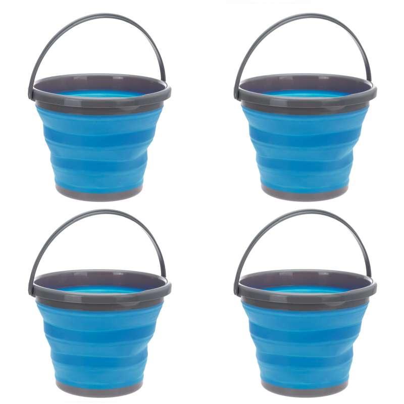 4 Stück Putzeimer Campingeimer SET 10 L blau Wassereimer rund faltbar ausstülpbar