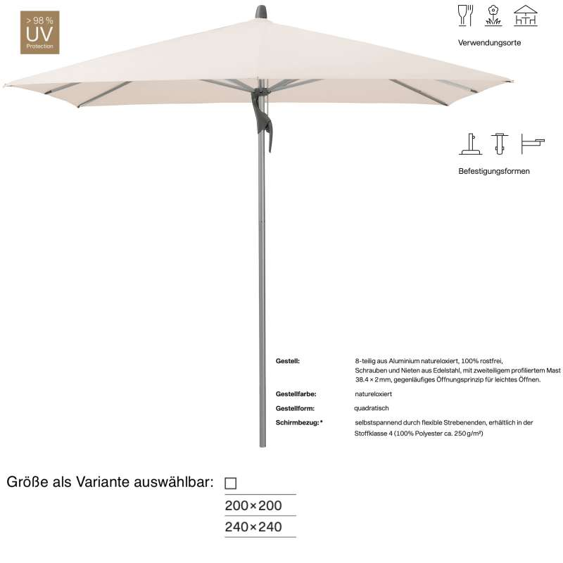GLATZ Sonnenschirm FORTINO® quadratisch 200 x 200 / 240 x 240 cm Stoffklasse 4 Vanilla 453 Mittelmas