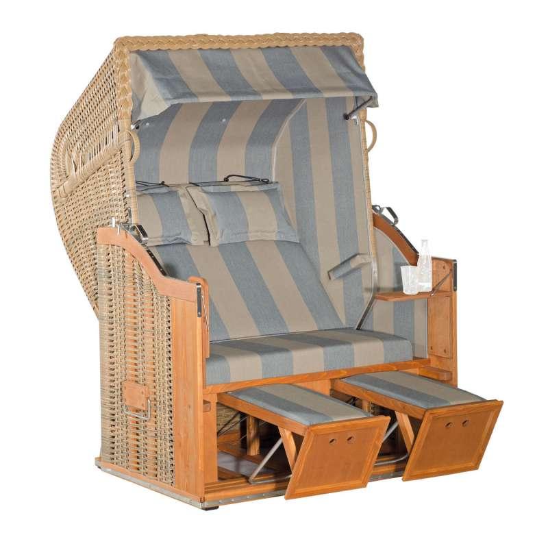 Sonnenpartner Strandkorb Classic 2-Sitzer Halbliegemodell marone/grau mit Sonderausstattung