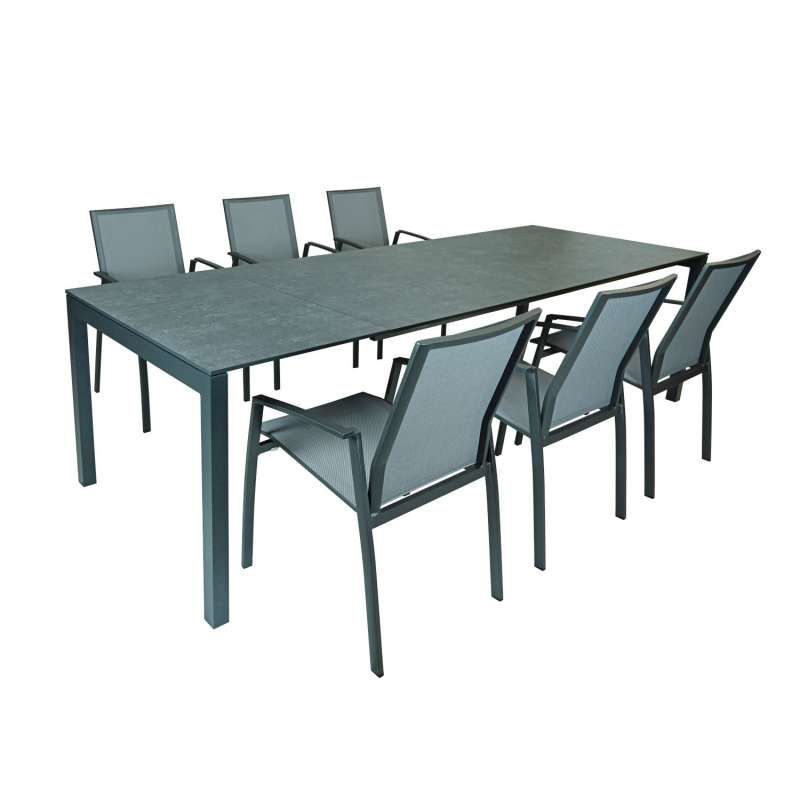 SIT Mobilia 7-teilige Sitzgruppe Etna Alpha & Argentina Aluminium eisengrau/HPL/silber Tisch 160/220