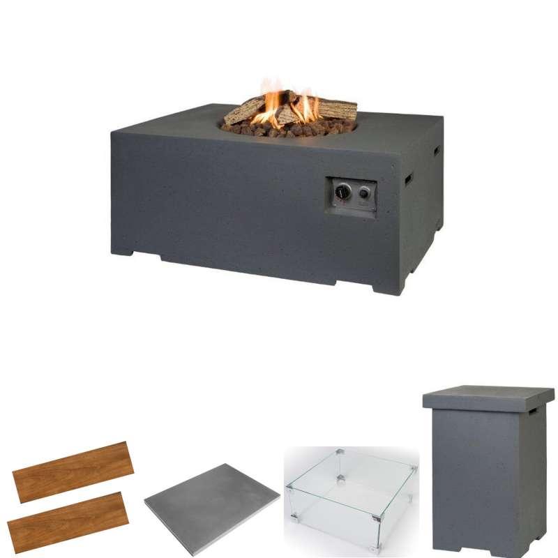 Happy Cocooning Mania Feuertisch Komplettset 19,5 kW rechteckig groß 107x80x46 cm Beton-Optik grau