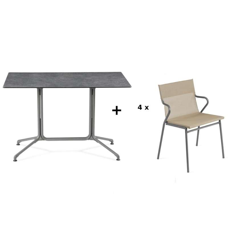 Lafuma Horizon Tisch-Set Loungetisch 115x70x74,5 cm Mineral 4 Stühle Noisette