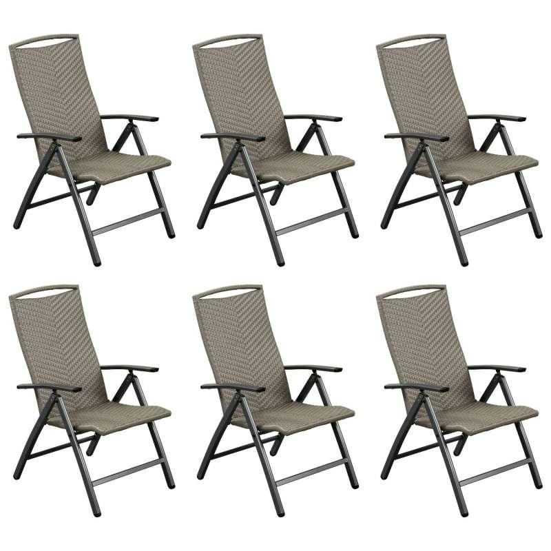 Inko 6er-Set Klappsessel York Aluminium graphit/Geflecht grau 5-fach verstellbar Hochlehner 74x61x10
