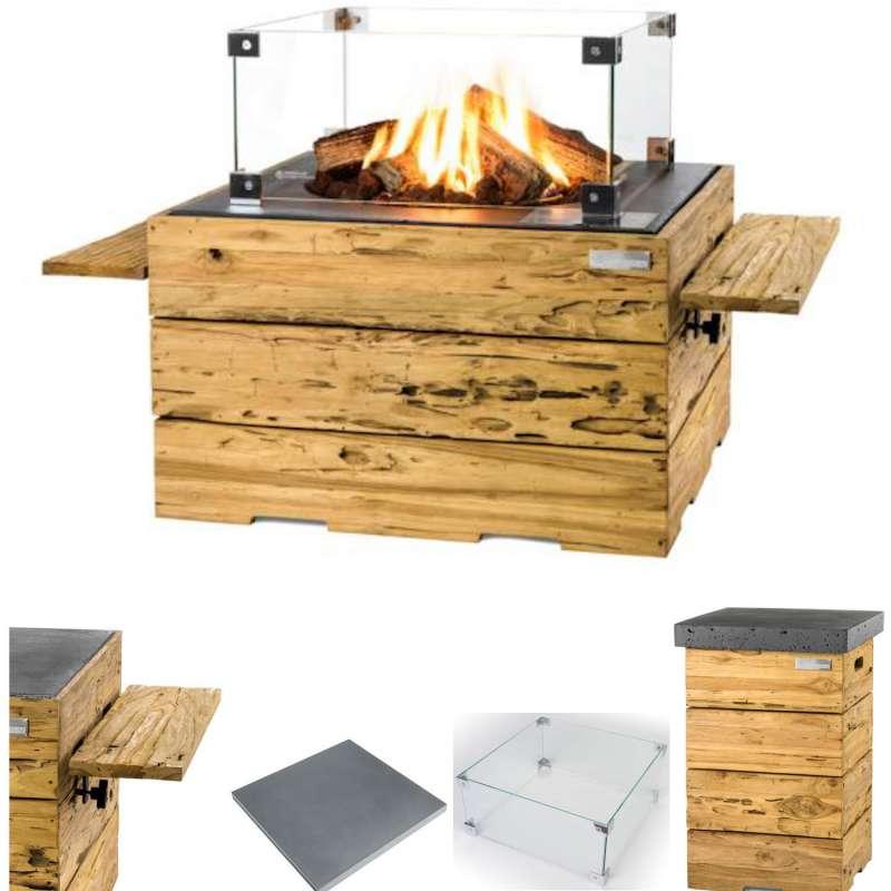 Happy Cocooning Mania Feuertisch Komplettset 19,5 kW quadratisch groß 76x76x46 cm Teakholz Driftwood