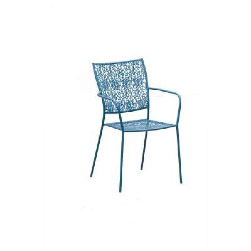 Inko Stapelsessel Fleur Eisen Gartensessel stapelbar Farbe blau TBT 142-B