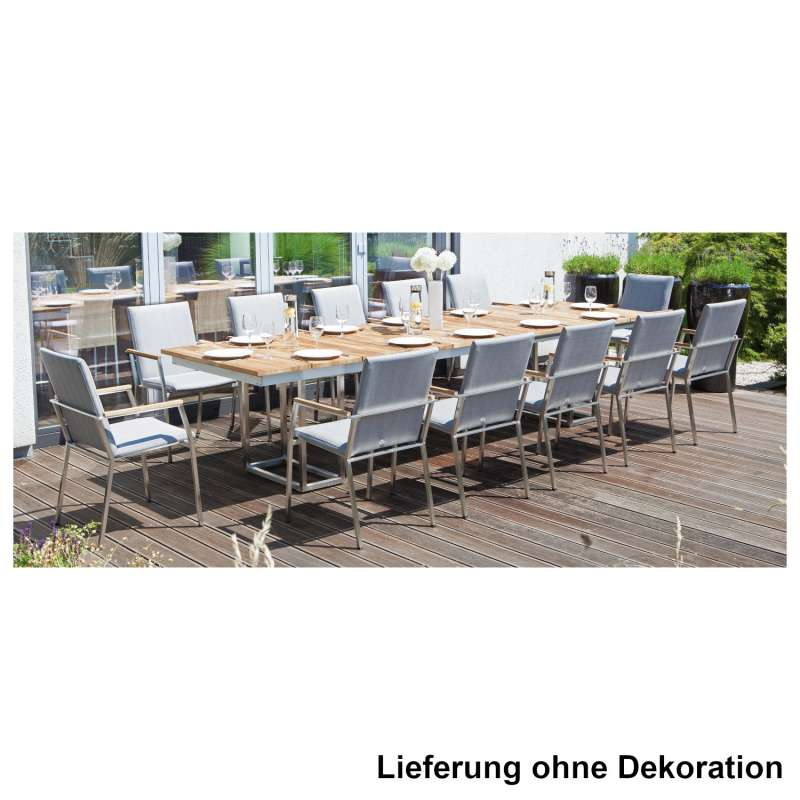 Sonnenpartner 13-teilige Sitzgruppe Superior & Imperator 205/340x100 cm Edelstahl mit Textilen silbe