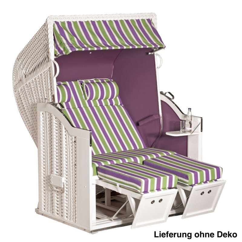Sonnenpartner Strandkorb Classic 2 Sitzer Halbliegemodell inkl Ausstattung weiß