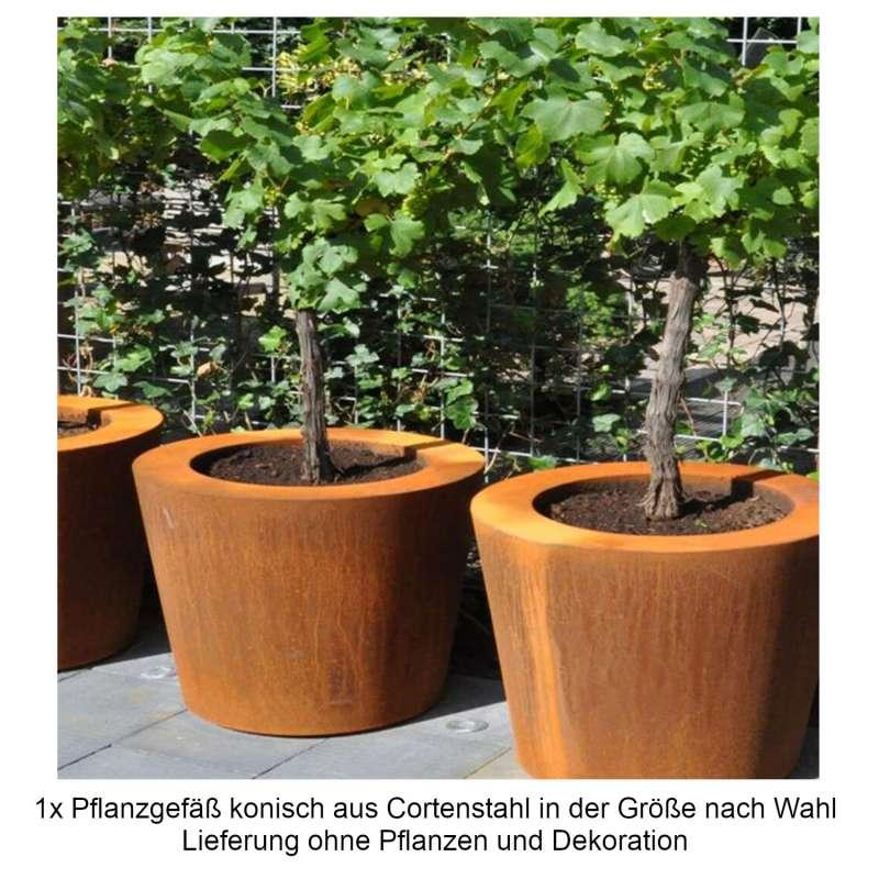 Mecondo Pflanzgefäß aus Cortenstahl konisch Größe nach Wahl Blumenkübel