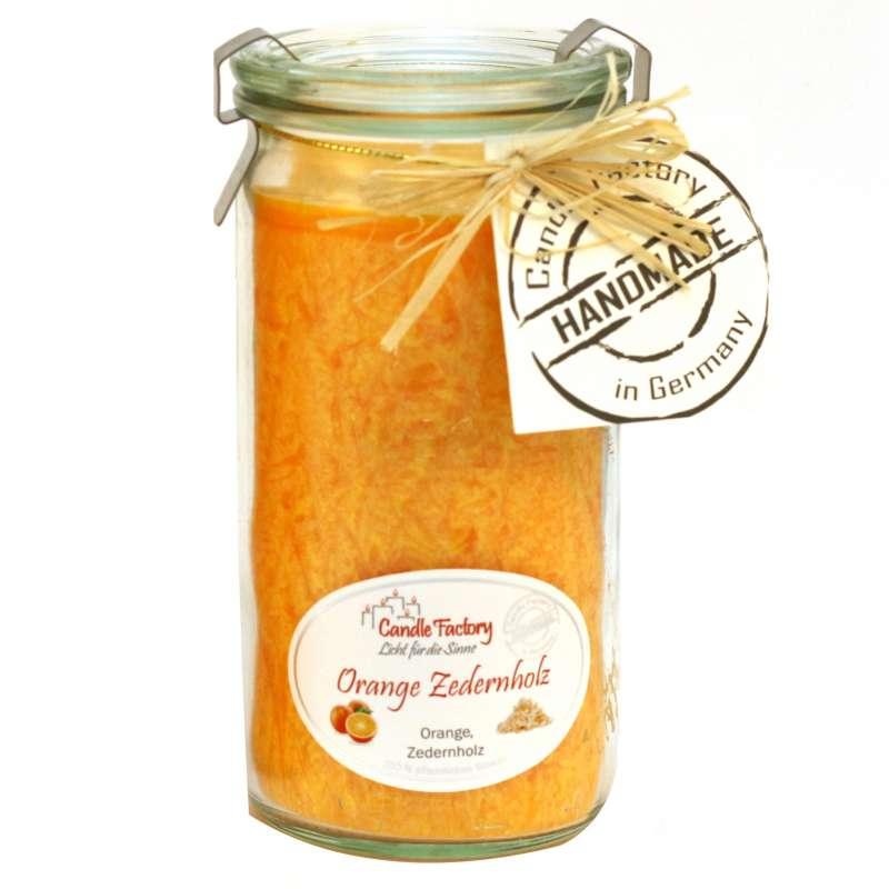 Candle Factory Kerze Mini Jumbo Orange Zedernholz Duftkerze Dekokerze 307-081