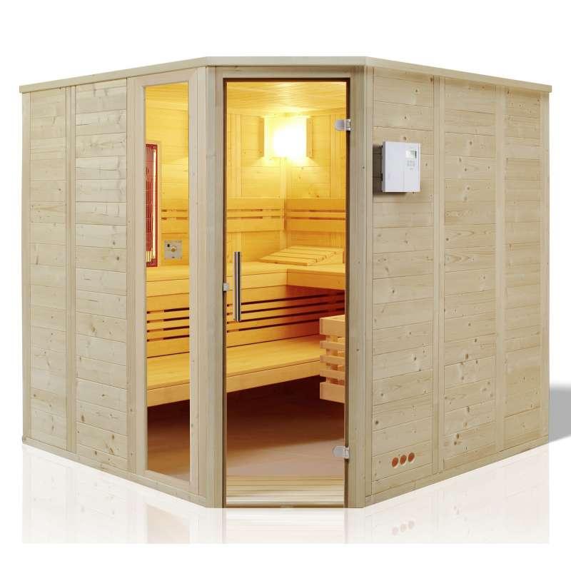 Infraworld Sauna Urban Complete Massivholz 209 x 209 cm nordische Fichte 391034