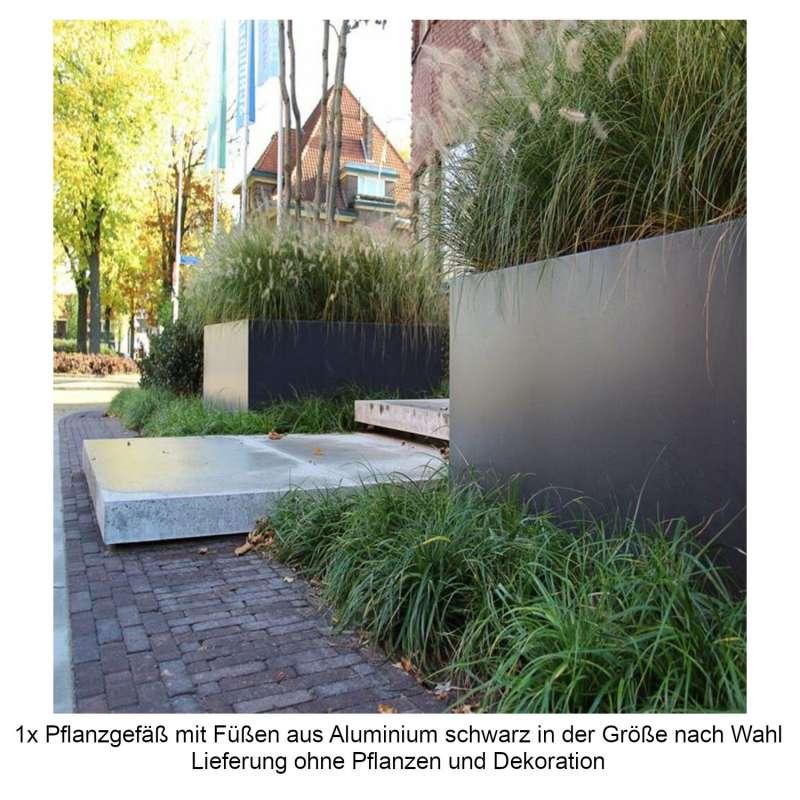 Mecondo Pflanzgefäß mit Füßen Aluminium schwarzgrau RAL 7021 quadratisch/rechteckig Blumenkübel