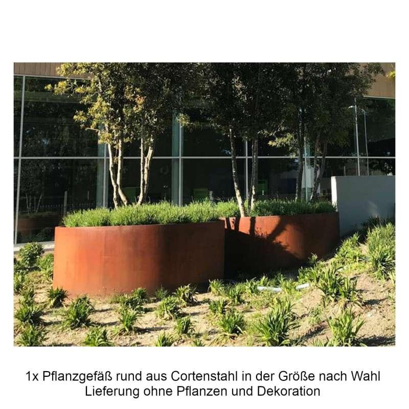 Mecondo Pflanzgefäß aus Cortenstahl rund Größe nach Wahl Blumenkübel