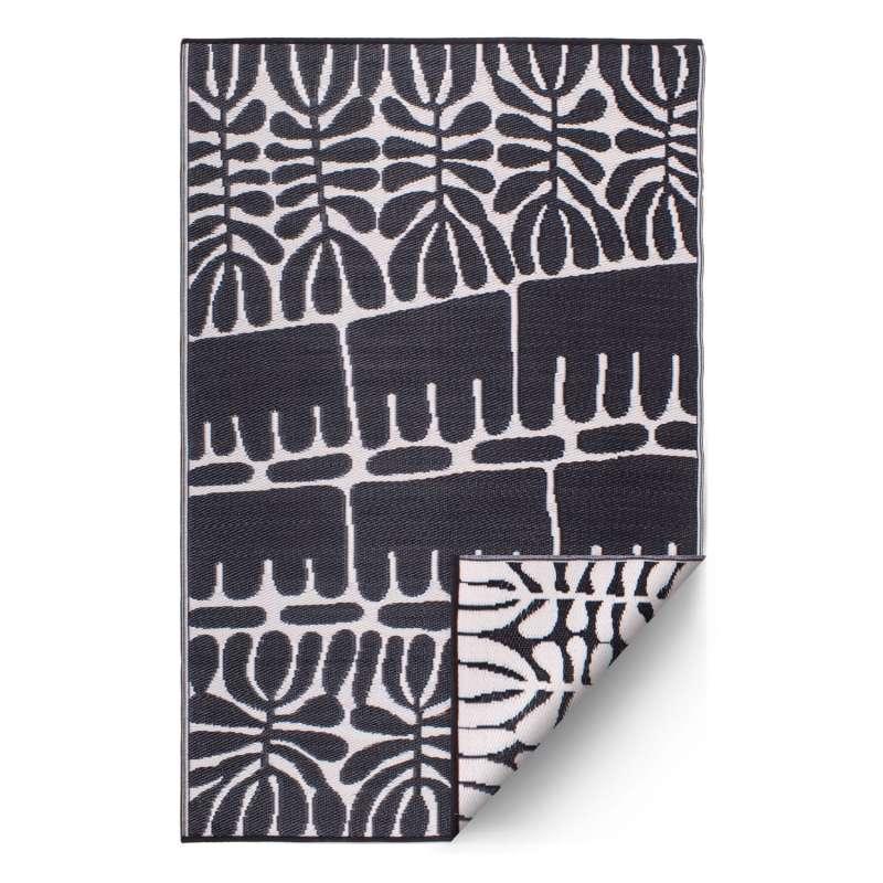 Fab Hab Outdoorteppich Serowe Black aus recyceltem Plastik schwarz/weiß 90x150 cm
