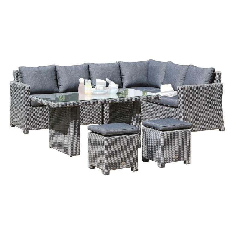 SunnySmart 4-teilige Loungegruppe Somerset Aluminium mit Kunststoffgeflecht rustic-vintage
