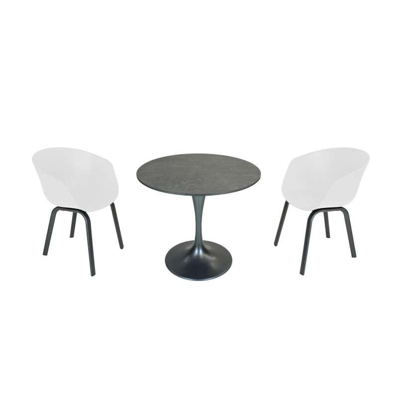 SIT Mobilia 3-teilige Sitzgruppe Trompeta rund & Boca Aluminium eisengrau/weiß Tisch Ø 80 cm mit 2 S