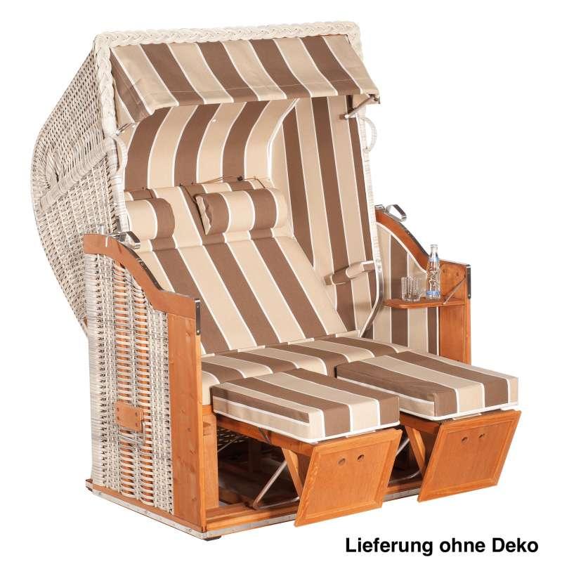 Sonnenpartner Strandkorb Classic 2-Sitzer Halbliegemodell antikweiß/beige mit Sonderausstattung