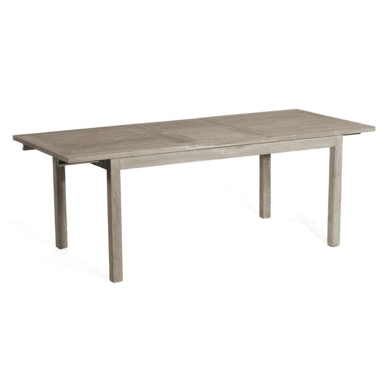 SunnySmart Teakholz-Gartentisch Wellington Old Teak grey-washed Tisch ausziehbar 160/210x90 cm