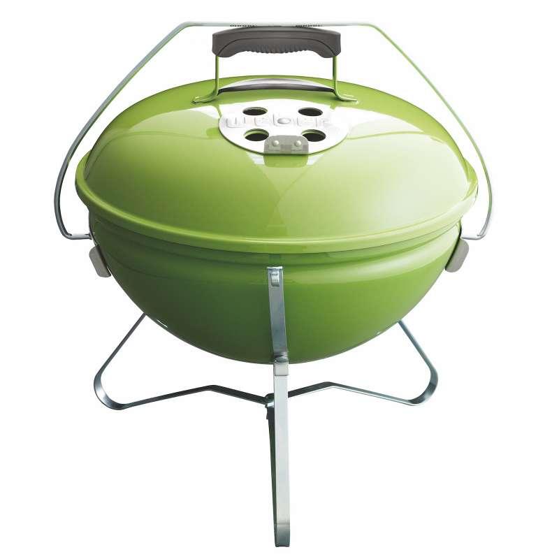 Weber Vorteils-Set 4-teilig Holzkohlegrill Smokey Joe Premium ø 37 cm Spring Green mit gratis Holzko