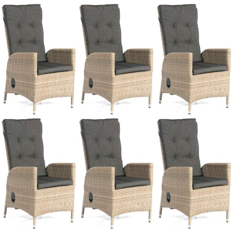 SunnySmart 6er Set Dining-Sessel Para-Basic Aluminium mit Kunststoffgeflecht sandstone Gartenstuhl
