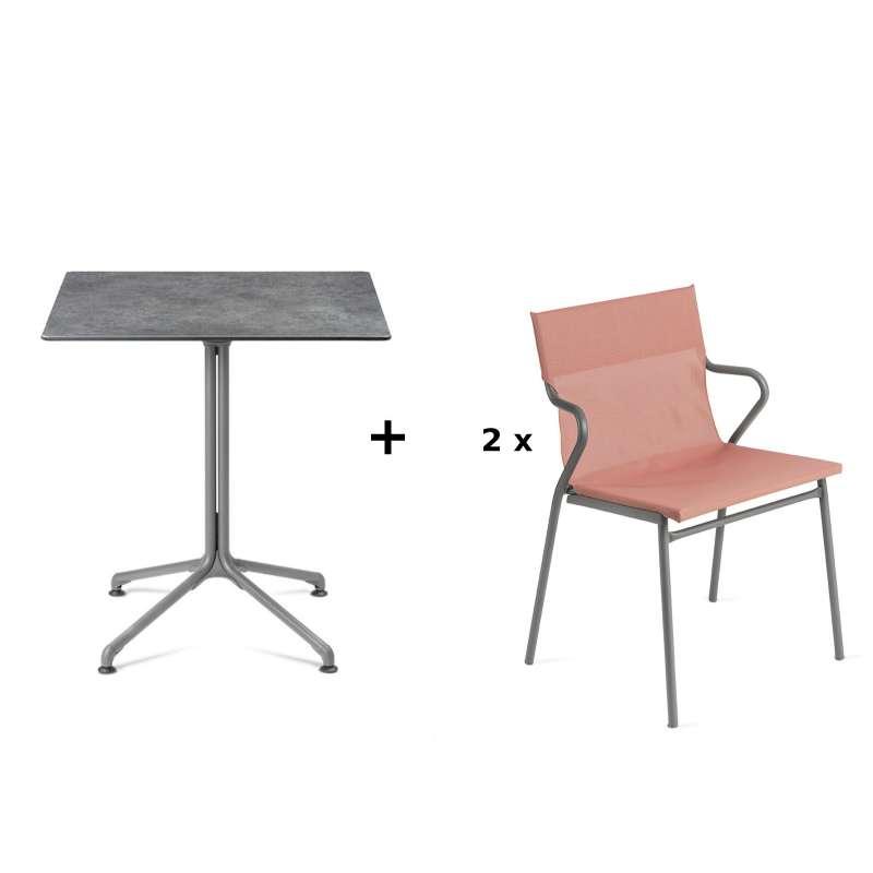 Lafuma Horizon Tisch-Set Loungetisch Mineral 70x70cm 2 Loungestühle Terre Cuite