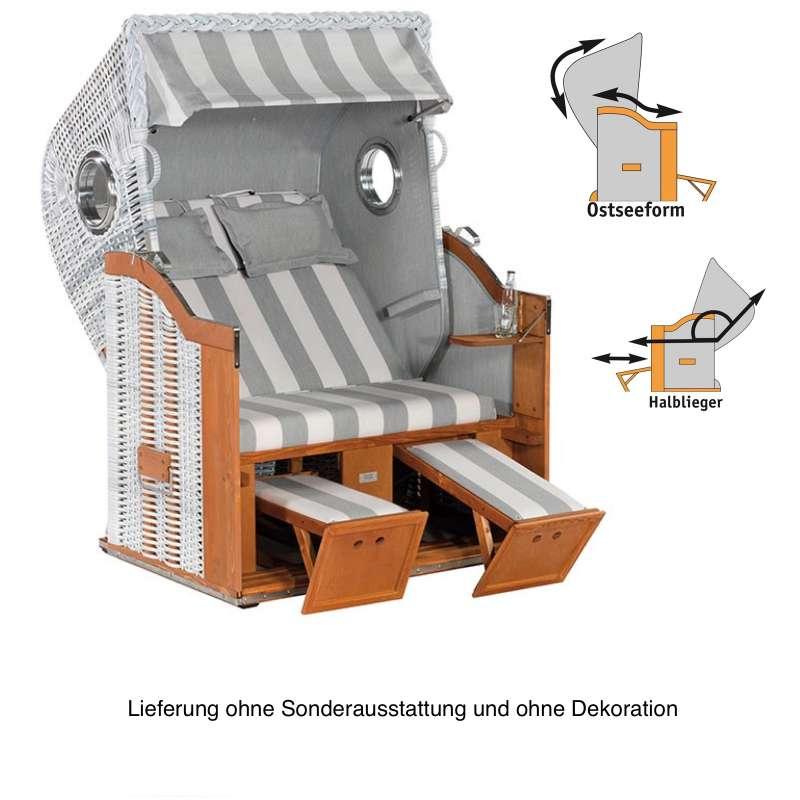 Sonnenpartner Strandkorb Classic 2-Sitzer Halbliegemodell weiß/hellgrau mit Bullaugen