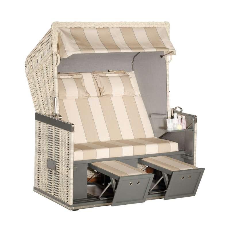 Sonnenpartner Strandkorb Konsul 2-Sitzer XL Halbliegemodell antikweiß/grau mit Sonderausstattung