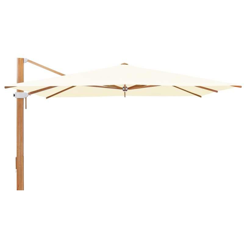 GLATZ Sonnenschirm AURA 400 x 400 cm Holzschirm Stoffklasse 5 Ivory 649