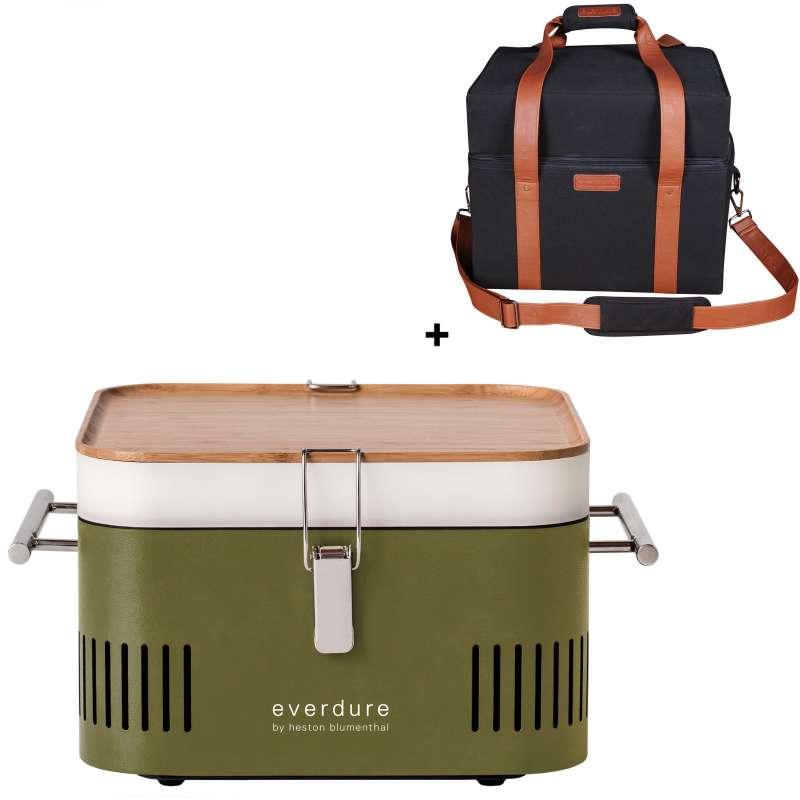 Everdure Holzkohlegrill Cube Farbe Khaki tragbar inkl. Transporttasche
