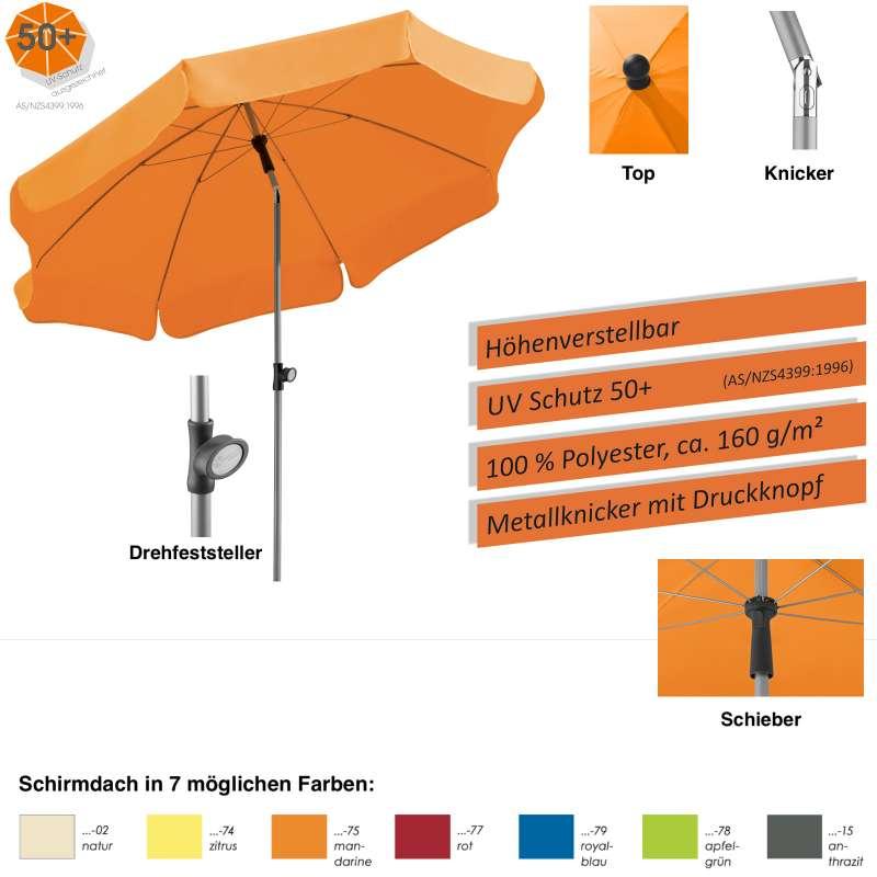 Schneider Locarno Sonnenschirm ø 200 cm rund 7 Farbvarianten Gartenschirm Balkonschirm