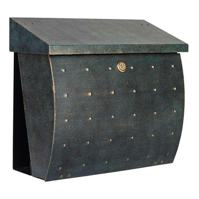 Heibi Briefkasten KROSIX Edelstahl pulverbeschichtet grün-gold DIN C4 quer