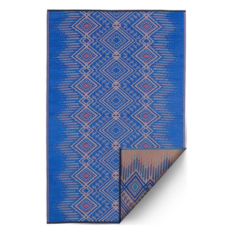 Fab Hab Outdoorteppich Jodhpur Multi Blue aus recyceltem Plastik blau/creme 90x150 cm