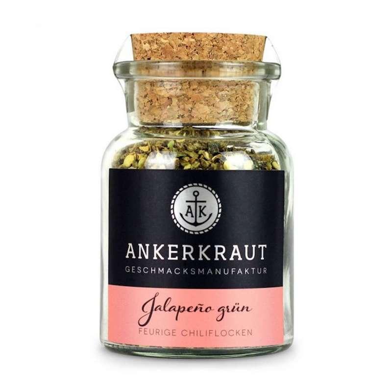 Ankerkraut Jalapeno grün Gewürz Chilis geschrotet Jalapenogewürz Korkenglas 45 g
