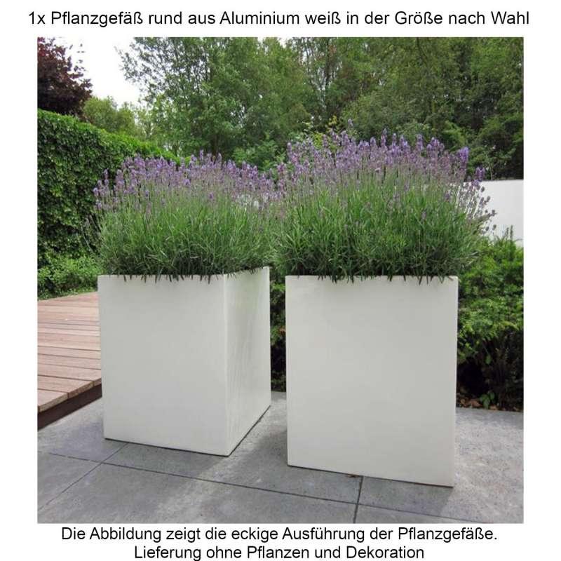 Mecondo Pflanzgefäß rund aus Aluminium verkehrsweiß RAL 9016 Größe nach Wahl Blumenkübel