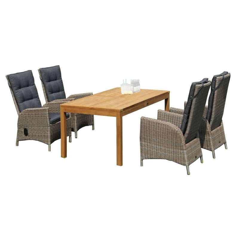 SunnySmart 5-teilige Sitzgruppe Para-Basic & Wellington Aluminium Kunststoffgeflecht sandstone mit T