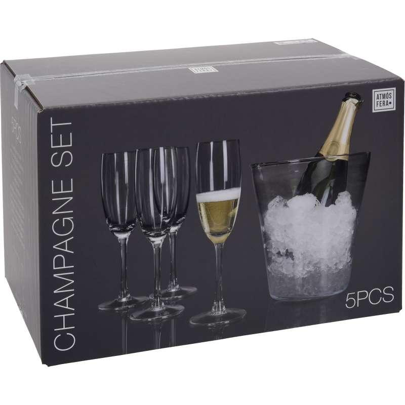 Champagnerkühler mit 4 Champagnergläser Weinkühler Sektkühler aus Glas 5 tlg