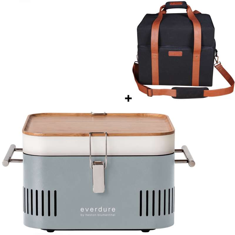 Everdure Holzkohlegrill Cube Farbe Stone tragbar inkl. Transporttasche