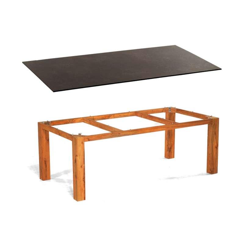Sonnenpartner Gartentisch Base 200x100 cm Teakholz Old Teak Tischsystem mit wählbarer Tischplatte HP