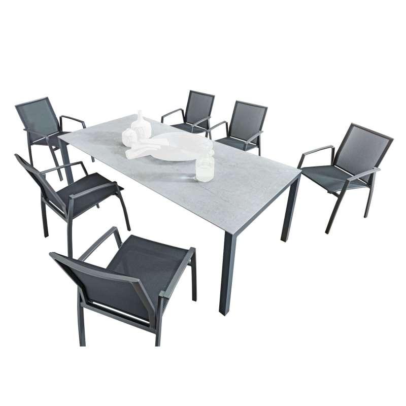 SIT Mobilia 7-teilige Sitzgruppe Etna Alpha & Argentina Aluminium eisengrau/Dekton/schwarz Tisch 210