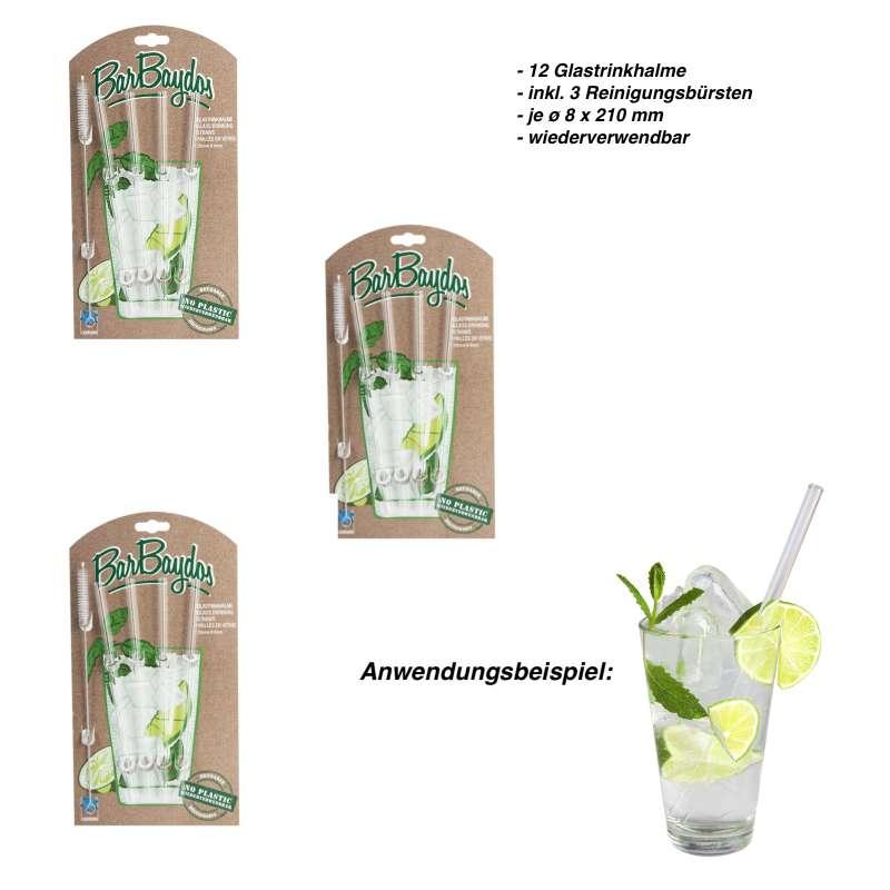 Contento Glastrinkhalm 12 Stk SET Barbaydos Glas Getränkehalm wiederverwendbar Strohhalm