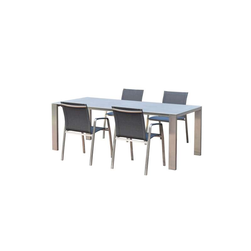 SIT Mobilia 5-teilige Sitzgruppe Olympia Oslo & Tinto Edelstahl Tisch 160x95 cm mit 4 Stühlen