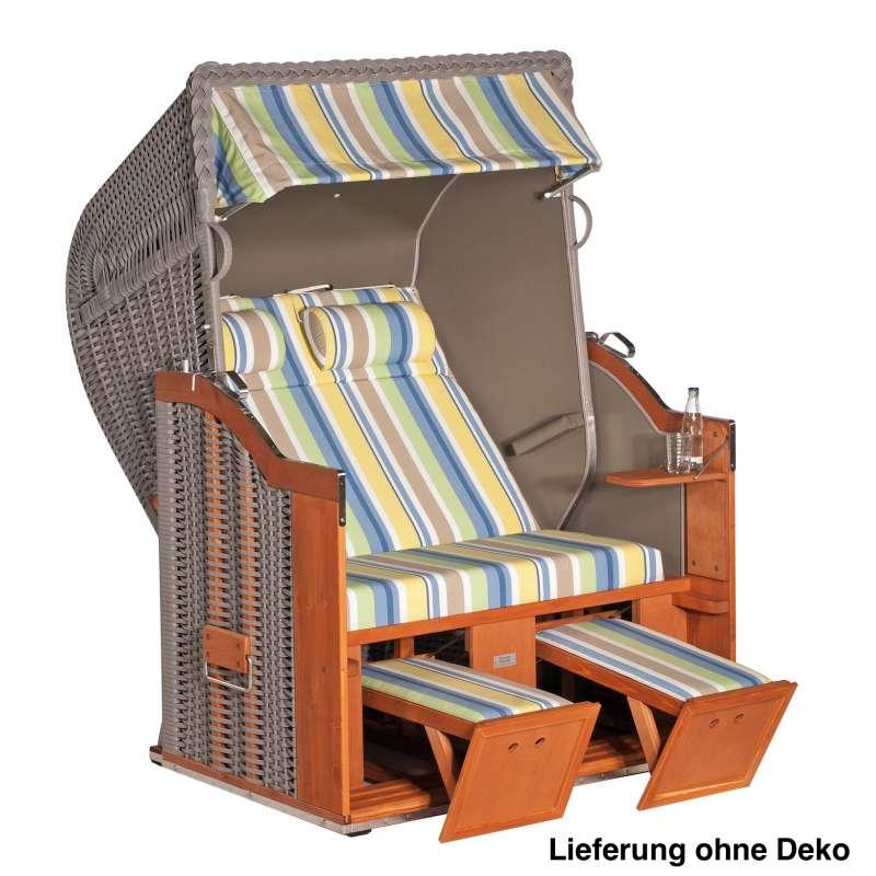 Sonnenpartner Strandkorb Classic 2 Sitzer Halbliegemodell inkl Ausstattung taupe