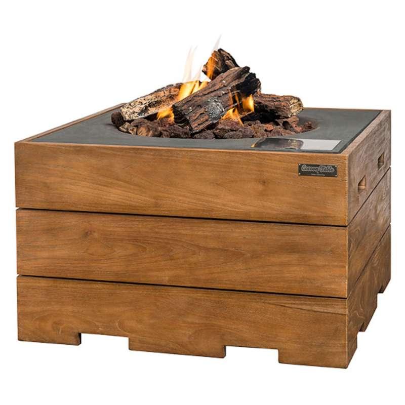 Happy Cocooning Mania Feuertisch 19,5 kW quadratisch groß 76x76x46 cm Teakholz/grau