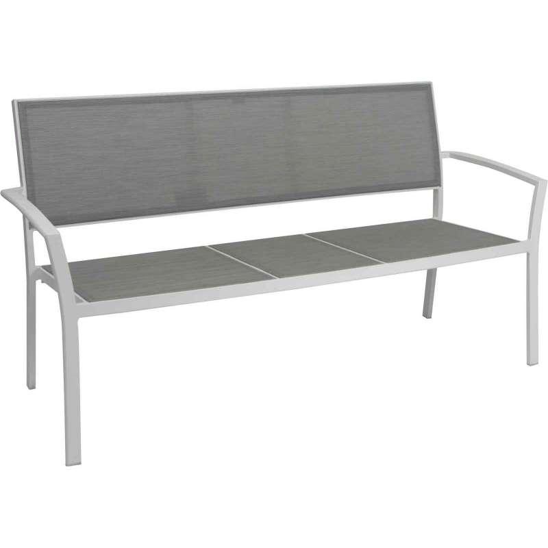 Stern 2,5-Sitzer Bank Allround Aluminium weiß/Textilen silber Gartenbank Sitzbank