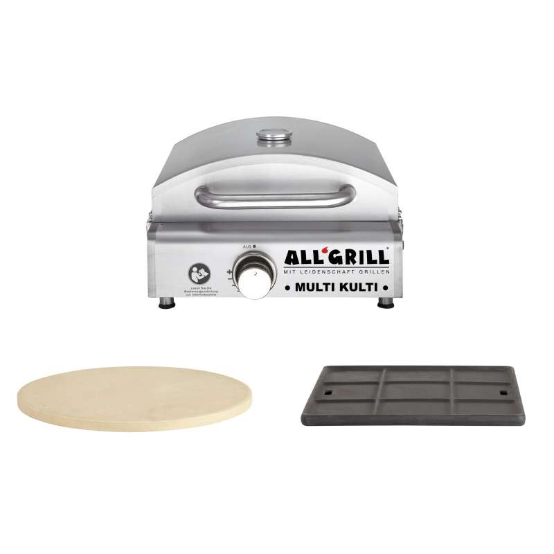 Allgrill MULTI-KULTI Set 1 - Gasgrill + Pizzastein Ø 31 cm + Gussgrillplatte 34 x 33 cm