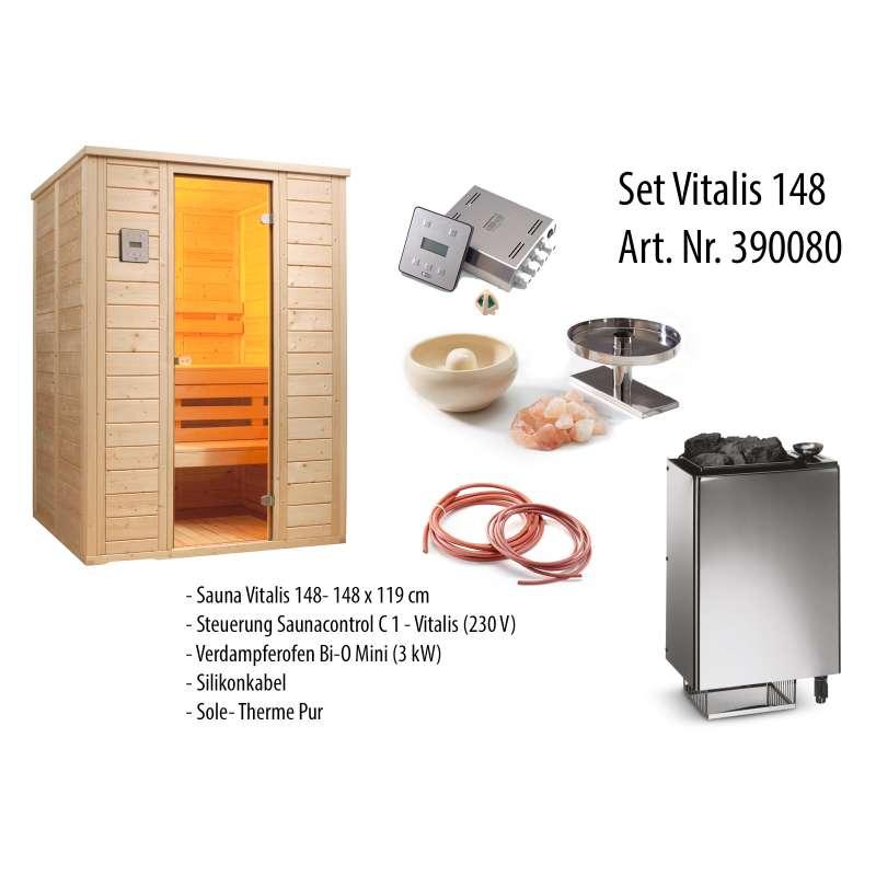 Infraworld Sauna Vitalis 148 Massivholzsauna Set mit Salzverdampfer 390080